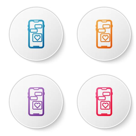 Color line Mobile phone with heart icon isolated on white background. Valentines day. Set icons in circle buttons. Vector Illustration Ilustracja