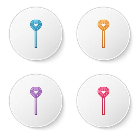 Color line Lollipop icon isolated on white background. Candy sign. Food, delicious symbol. Valentines day. Love symbol. Set icons in circle buttons. Vector Illustration
