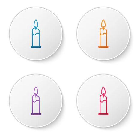 Color line Burning candle in candlestick icon isolated on white background. Cylindrical candle stick with burning flame. Set icons in circle buttons. Vector Illustration