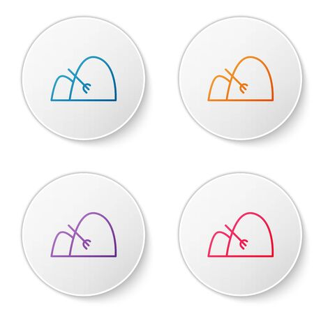 Color line Bale of hay and rake icon isolated on white background. Set icons in circle buttons. Vector Illustration Ilustrace