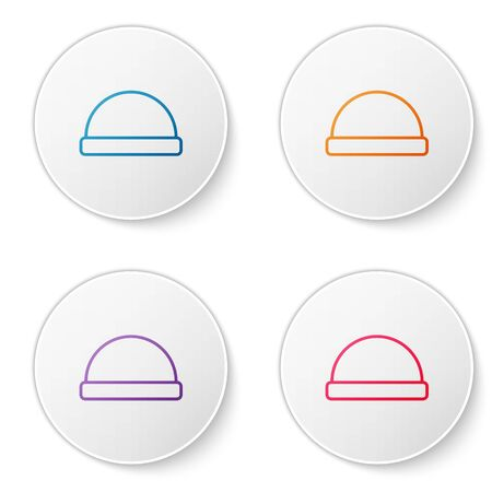 Color line Beanie hat icon isolated on white background. Set icons in circle buttons. Vector Illustration