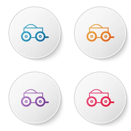 Color line Wooden four-wheel cart with hay icon isolated on white background. Set icons in circle buttons. Vector Illustration Vettoriali