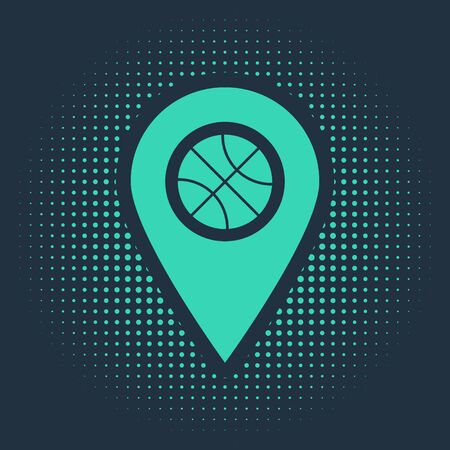 Green Location with basketball ball inside icon isolated on blue background. Abstract circle random dots. Vector Illustration Zdjęcie Seryjne - 138018943
