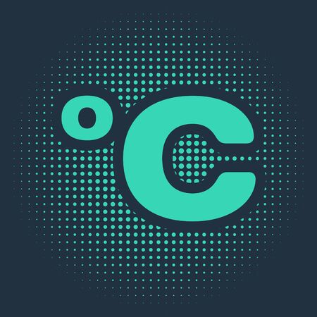 Green Celsius icon isolated on blue background. Abstract circle random dots. Vector Illustration