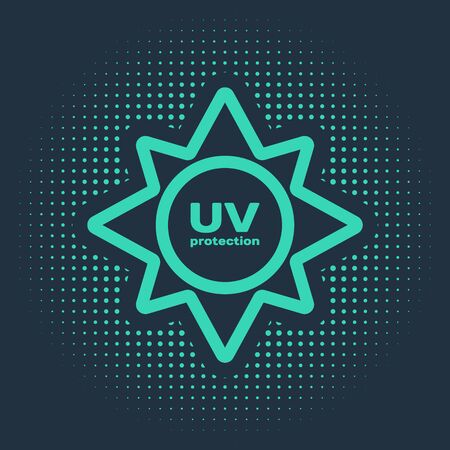 Green UV protection icon isolated on blue background. Ultra violet rays radiation. SPF sun sign. Abstract circle random dots. Vector Illustration Illustration