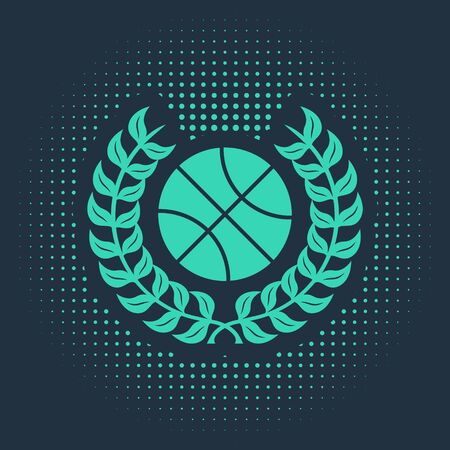 Green Award with basketball ball icon isolated on blue background. Laurel wreath. Winner trophy. Championship or competition trophy. Abstract circle random dots. Vector Illustration Illusztráció