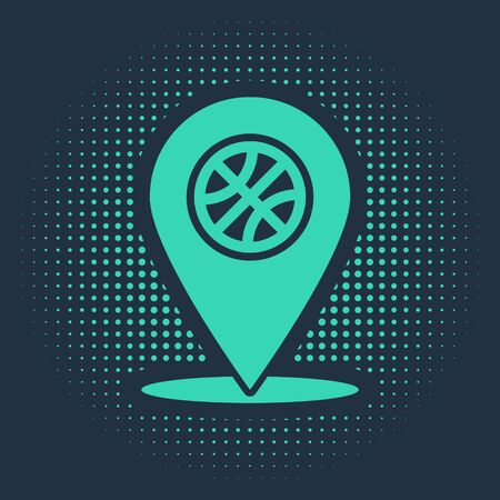 Green Location with basketball ball inside icon isolated on blue background. Abstract circle random dots. Vector Illustration