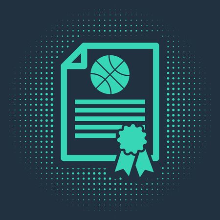 Green Certificate template basketball award icon isolated on blue background. Achievement, award, degree, grant, diploma concepts. Abstract circle random dots. Vector Illustration Ilustracja
