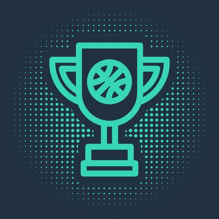 Green Award cup with basketball ball icon isolated on blue background. Winner trophy symbol. Championship or competition trophy. Abstract circle random dots. Vector Illustration