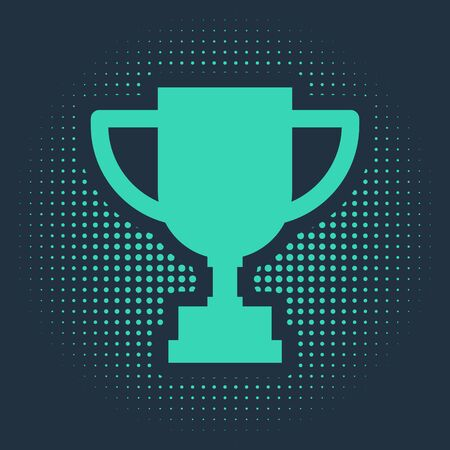Green Award cup icon isolated on blue background. Winner trophy symbol. Championship or competition trophy. Sports achievement. Abstract circle random dots. Vector Illustration
