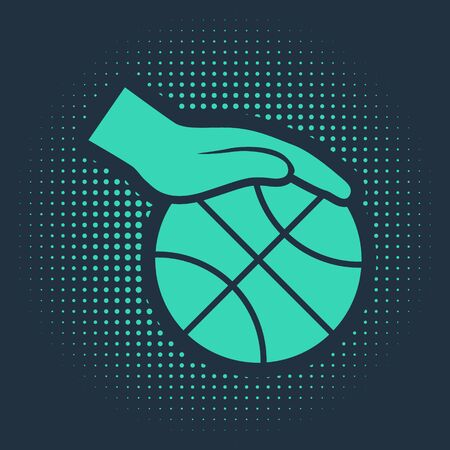 Green Hand with basketball ball icon isolated on blue background. Sport symbol. Abstract circle random dots. Vector Illustration