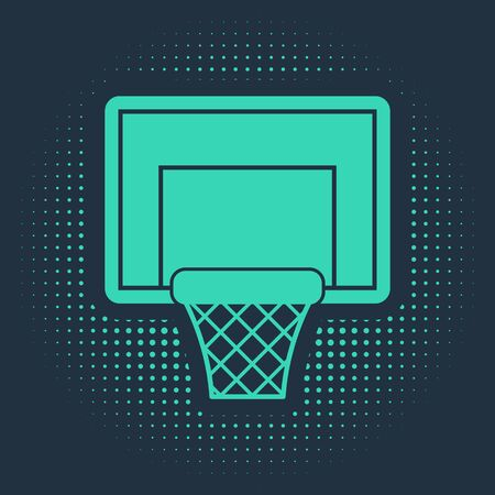 Green Basketball backboard icon isolated on blue background. Abstract circle random dots. Vector Illustration