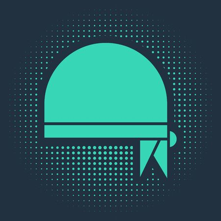 Green Pirate bandana for head icon isolated on blue background. Abstract circle random dots. Vector Illustration Фото со стока - 138019060