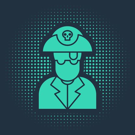 Green Pirate captain icon isolated on blue background. Abstract circle random dots. Vector Illustration  イラスト・ベクター素材