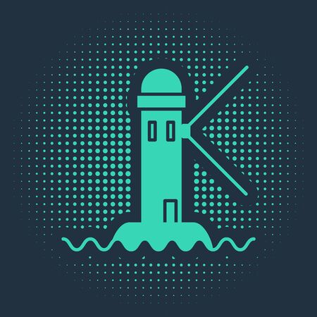 Green Lighthouse icon isolated on blue background. Abstract circle random dots. Vector Illustration