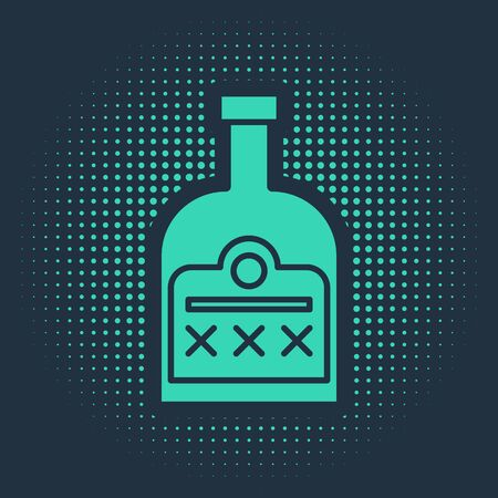 Green Alcohol drink Rum bottle icon isolated on blue background. Abstract circle random dots. Vector Illustration