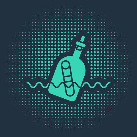 Green Glass bottle with a message in water icon isolated on blue background. Letter in the bottle. Pirates symbol. Abstract circle random dots. Vector Illustration Vettoriali