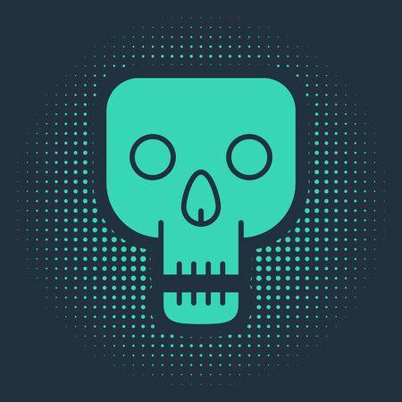 Green Skull icon isolated on blue background. Happy Halloween party. Abstract circle random dots. Vector Illustration Фото со стока - 138019111