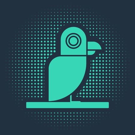 Green Pirate parrot icon isolated on blue background. Abstract circle random dots. Vector Illustration Illustration