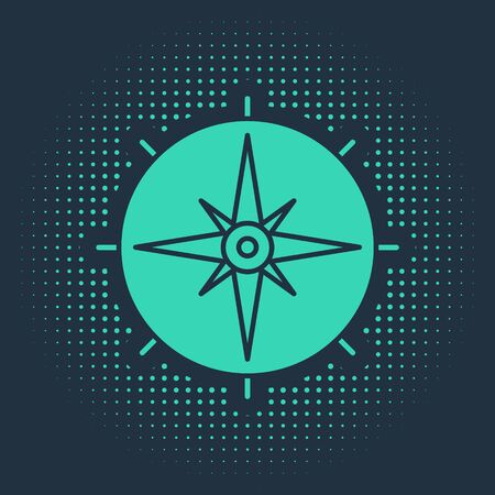 Green Wind rose icon isolated on blue background. Compass icon for travel. Navigation design. Abstract circle random dots. Vector Illustration