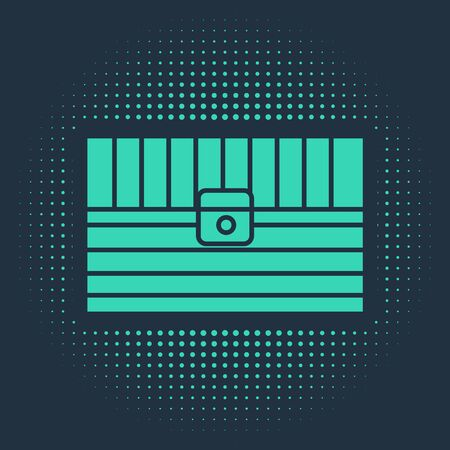Green Antique treasure chest icon isolated on blue background. Vintage wooden chest with golden coin. Abstract circle random dots. Vector Illustration