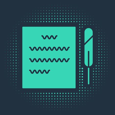 Green Feather pen and paper scroll icon isolated on blue background. Abstract circle random dots. Vector Illustration