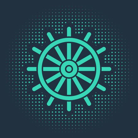 Green Ship steering wheel icon isolated on blue background. Abstract circle random dots. Vector Illustration