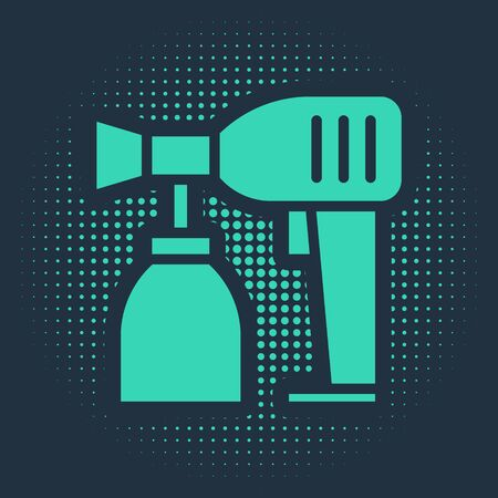 Green Paint spray gun icon isolated on blue background. Abstract circle random dots. Vector Illustration