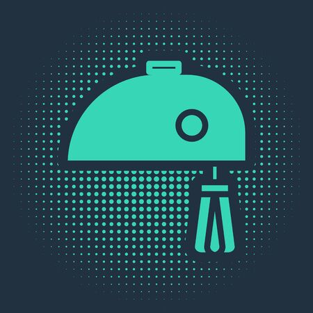Green Electric mixer icon isolated on blue background. Kitchen blender. Abstract circle random dots. Vector Illustration Reklamní fotografie - 138019200