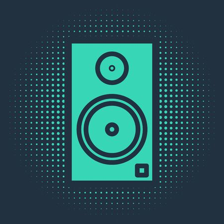 Green Stereo speaker icon isolated on blue background. Sound system speakers. Music icon. Musical column speaker bass equipment. Abstract circle random dots. Vector Illustration Ilustração