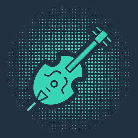 Green Violin icon isolated on blue background. Musical instrument. Abstract circle random dots. Vector Illustration