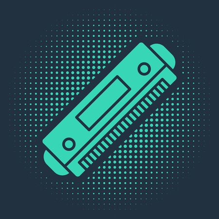 Green Harmonica icon isolated on blue background. Musical instrument. Abstract circle random dots. Vector Illustration