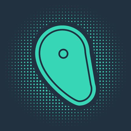 Green Steak meat icon isolated on blue background. Abstract circle random dots. Vector Illustration