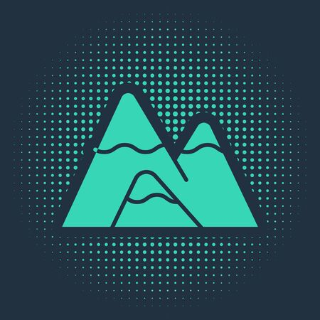 Green Mountains icon isolated on blue background. Symbol of victory or success concept. Abstract circle random dots. Vector Illustration