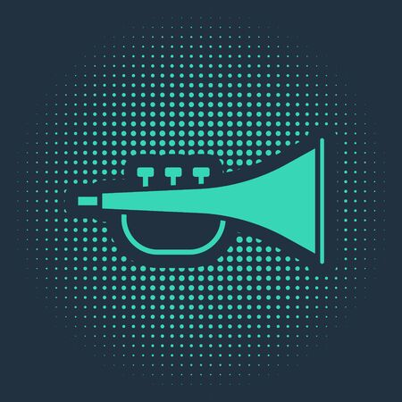 Green Musical instrument trumpet icon isolated on blue background. Abstract circle random dots. Vector Illustration