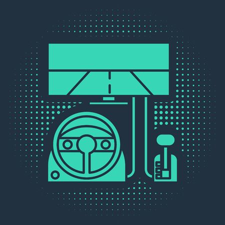Green Racing simulator cockpit icon isolated on blue background. Gaming accessory. Gadget for driving simulation game. Abstract circle random dots. Vector Illustration 向量圖像
