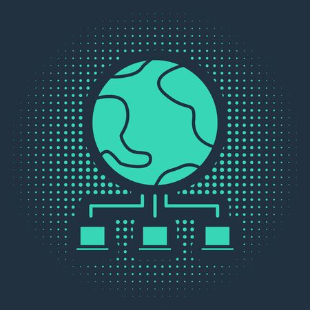 Green Computer network icon isolated on blue background. Online gaming. Laptop network. Internet connection. Abstract circle random dots. Vector Illustration