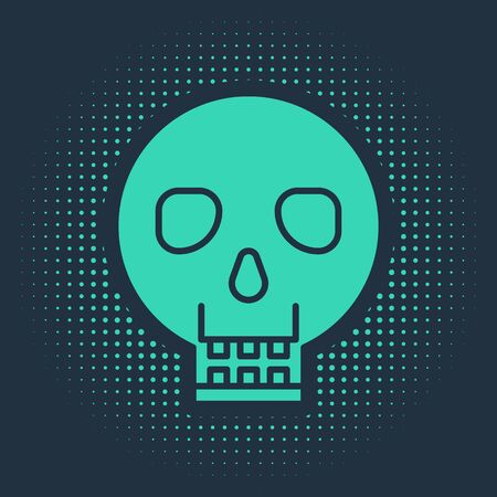 Green Skull icon isolated on blue background. Happy Halloween party. Abstract circle random dots. Vector Illustration Фото со стока - 138019314
