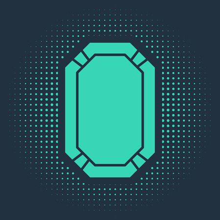 Green Poker table icon isolated on blue background. Abstract circle random dots. Vector Illustration