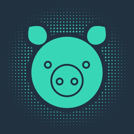 Green Pig zodiac sign icon isolated on blue background. Astrological horoscope collection. Abstract circle random dots. Vector Illustration