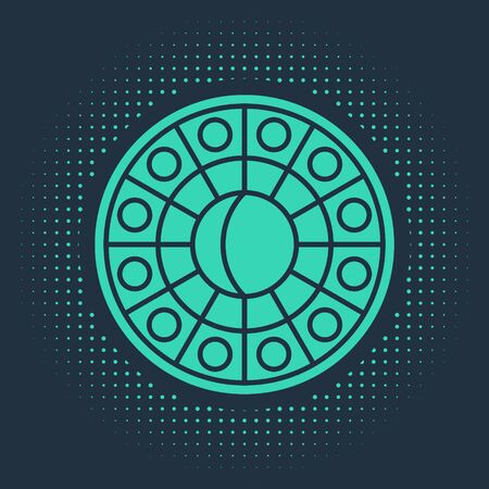 Green Astrology horoscope circle with zodiac icon isolated on blue background. Abstract circle random dots. Vector Illustration Illusztráció