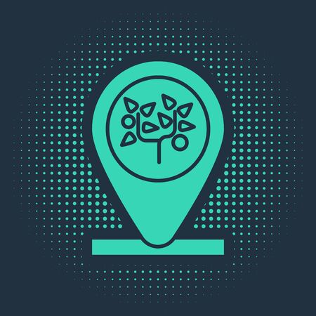 Green Location and tree icon isolated on blue background. Abstract circle random dots. Vector Illustration Ilustracja