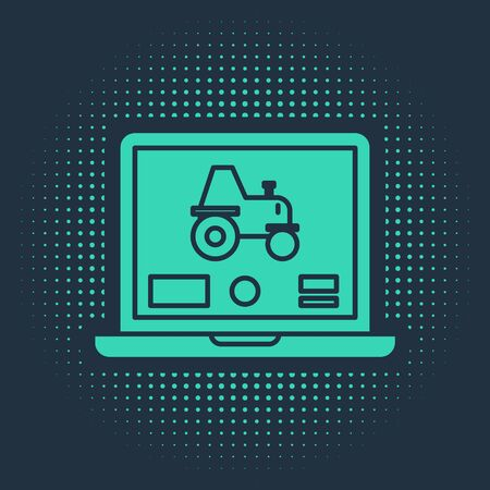 Green Laptop application for control a autonomous tractor on a smart farm icon isolated on blue background. Smart agriculture implement. Abstract circle random dots. Vector Illustration