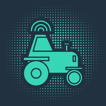 Green Self driving wireless tractor on a smart farm icon isolated on blue background. Smart agriculture implement element. Abstract circle random dots. Vector Illustration