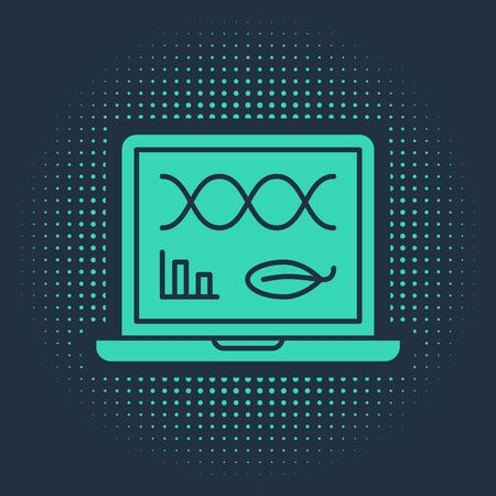 Green Genetic engineering modification on laptop icon isolated on blue background. DNA analysis, genetics testing, cloning. Abstract circle random dots. Vector Illustration