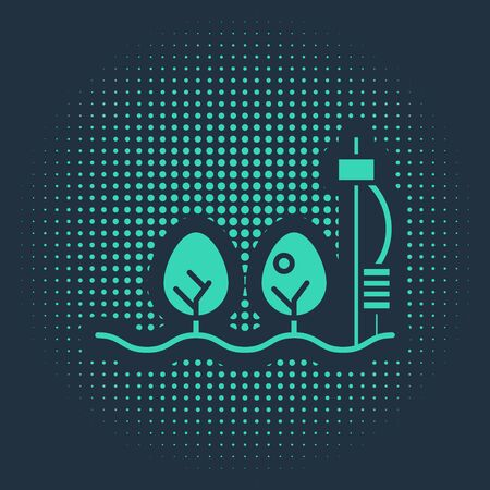 Green Standalone sensor and plant icon isolated on blue background. Abstract circle random dots. Vector Illustration Zdjęcie Seryjne - 138022191
