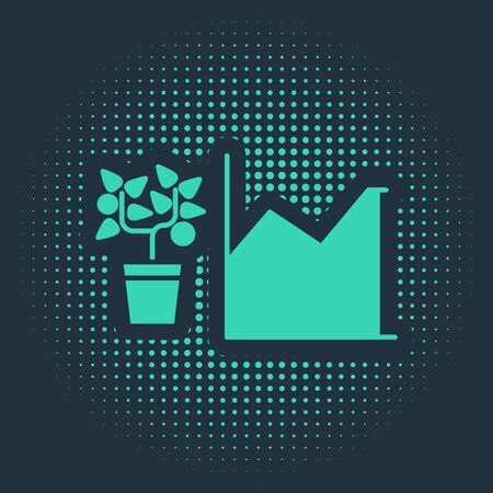Green Flower statistics icon isolated on blue background. Abstract circle random dots. Vector Illustration