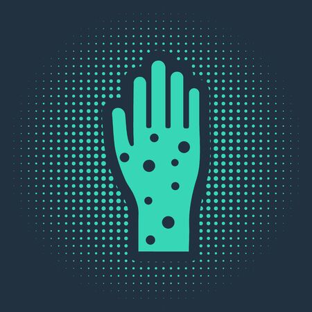 Green Hand with psoriasis or eczema icon isolated on blue background. Concept of human skin response to allergen or chronic body problem. Abstract circle random dots. Vector Illustration