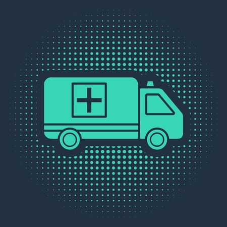 Green Ambulance and emergency car icon isolated on blue background. Ambulance vehicle medical evacuation. Abstract circle random dots. Vector Illustration