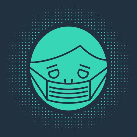 Green Man face in a medical protective mask icon isolated on blue background. Quarantine. Abstract circle random dots. Vector Illustration